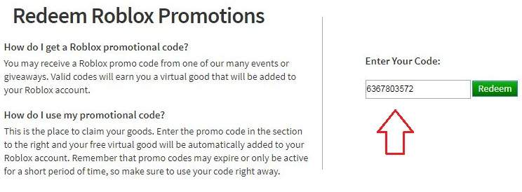 promo code roblox page